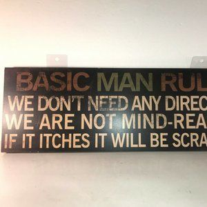 """Other - Basic Man Rules Wood Sign Wall Decor 23"""" x 8"""""""